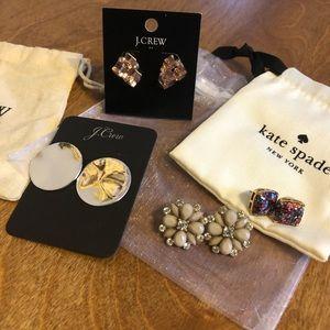 Set of 4 post earrings Kate Spade J Crew EUC